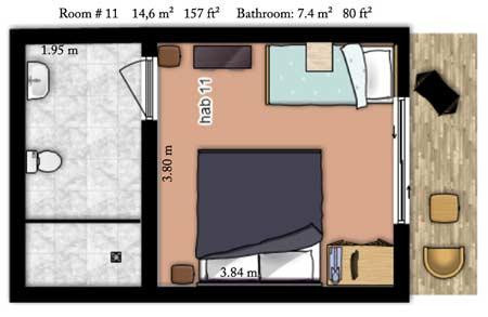 Tarife der zimmer in posada nena inkl fr hst ck for Plano habitacion online